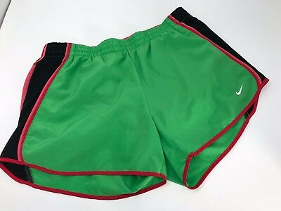 NIKE Women's DRI-FIT Tempo Running Shorts Athletic Gym Size M Green Pink Black