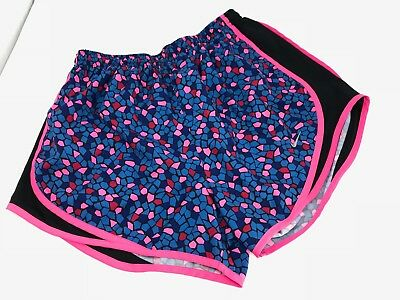 NIKE Women's DRI-FIT Tempo Running Shorts Athletic Gym Size M Black Pink Blue