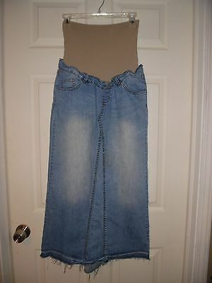 EUC American Star Long blue jean Denim Maternity Skirt Sz Small Modest Fray hem
