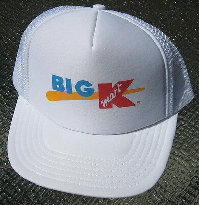 Vintage retro BIG K Mart foam mesh trucker Hat Cap KMart snap back WHITE