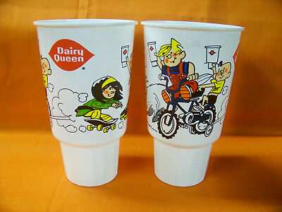 2 DENNIS THE MENACE / DAIRY QUEEN/ COKE 32oz. PLASTIC CUPS  NEW