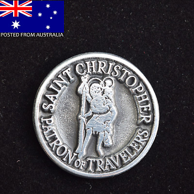 St Christopher Token ~ Patron of Travellers Coin with message/prayer ~ Gift Idea