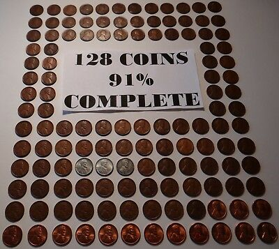 1909 Vdb - 1958 Almost Complete (128) Lincoln Wheat Cent Penny Pds  Set F/ Album