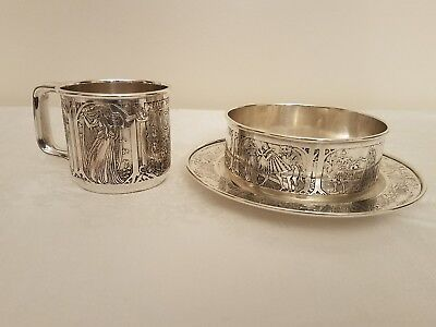 Rare Set  Antique Sterling Silver Baby Plate, Bowl & Cup