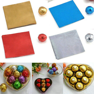 100pc Square Candy Sweets Chocolate lolly Package Wrappers Foil Paper Wrap Decor
