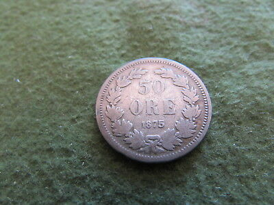 1875 Sweden 50 Ore Oscar II Monogram Shield 3 Crowns Wreath Silver Coin KM #740