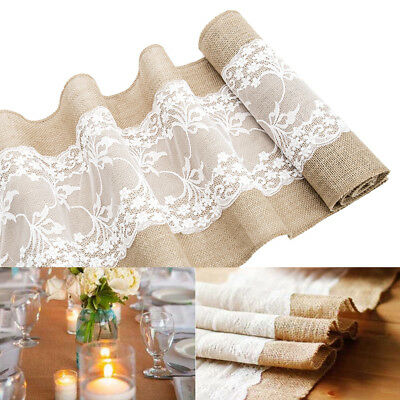 30cmx275cm Vintage Hessian Lace Table Runners Burlap Jute Lace Rustic Wedding AU