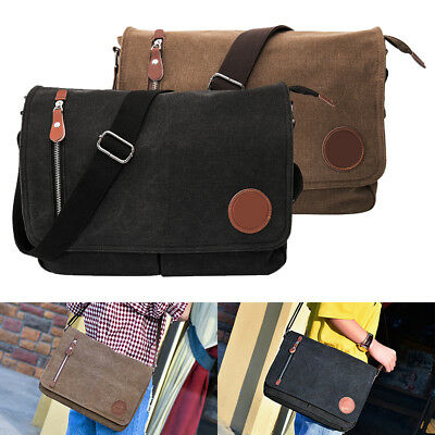 Men's Vintage Canvas Schoolbag Satchel Shoulder Messenger Bag Laptop Bags