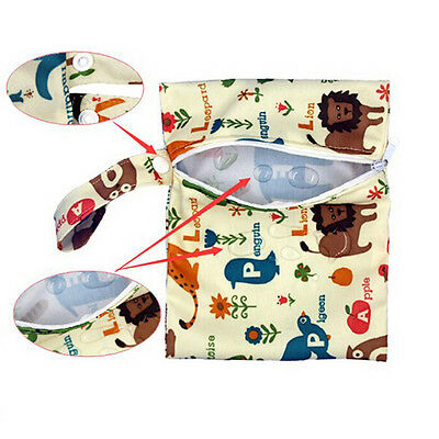 Baby Infant Waterproof Reusable Zip Wet Dry Bag Diaper Nappy Pouch Pocket Bag AT