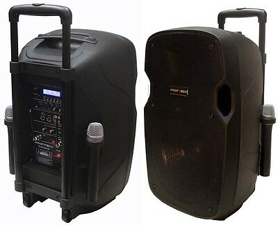 "760W 12"" PA System Active Address Speaker,2 Wireless Mic.Bluetooth,USB,Guitar In"