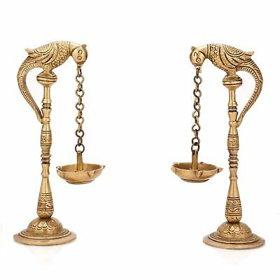 Brass Pair of Birds Oil Lamp Stand Hindu Religious Pooja Article Gifting Artware