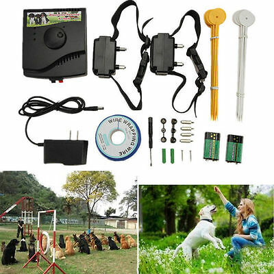 Underground Waterproof 2 Shock Collar Electric Dog Fence Fencing System Kit USA