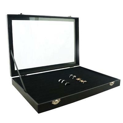 Ring Display Case Organizer Top Jewelry Storage Box 100 Slot Tray Holder