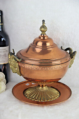 Gorgeous French copper soup tureen bowl coupe on plate ram heads brass RARE