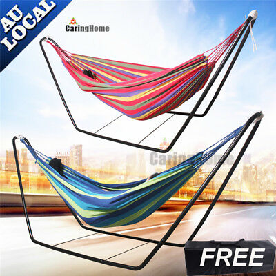 Double Cotton Hammock With Stand Garden Swinging Steel Chair Outdoor Camping Bed