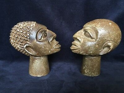 """Two Heavy Carved Stone African Ethnic Tribal Heads Approx 5.5"""" High"""