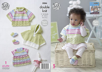King Cole Baby Double Knitting Pattern Raglan Sleeve Lacy Capes Top Bootees 5084