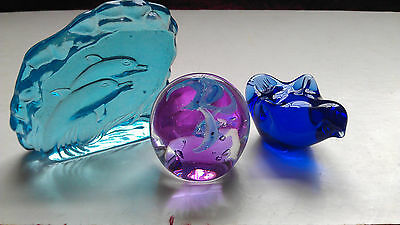 Paperweight  & Glass Ornaments.  3 Items