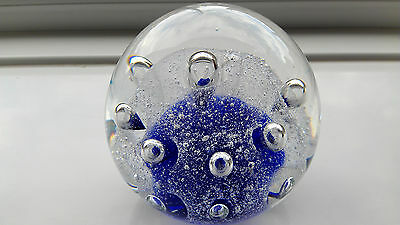 A Lovely Paperweight. Blue With Reflective Bubbles