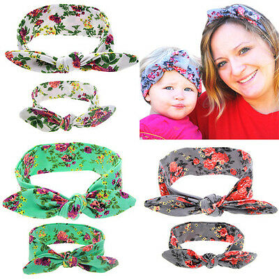 2Pcs/Set Mom Mother & Daughter Kids Baby Girls Bow Headband Hair Band Hairwear