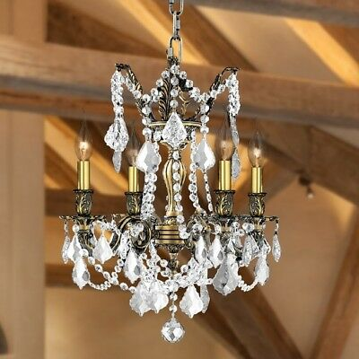 French Palace Collection 4 Light Antique Bronze Finish And Clear Crystal 17' D