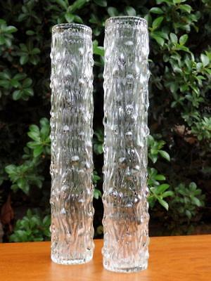 RETRO 60s 70s VINTAGE TALL 30cm TEXTURED Ice Bark ART GLASS VASE x 2 Perfect