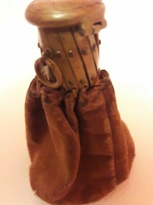 Antique Victorian Soft Leather Misers Coin Purse With Extending Top Chatelaine