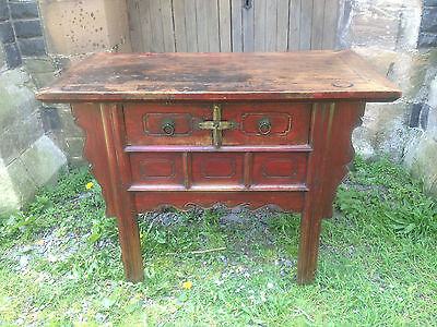 Antique Qing dynasty 19th century Chinese Red Lacquered Altar Table Sideboard