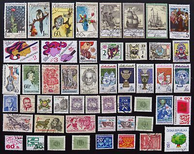 Czechoslovakia Stamp Collection Of 50 Different Used Stamps All Unhinged
