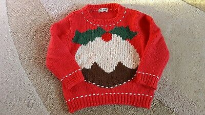 Girls NEXT Red Christmas jumper pudding design Size 18-24 months 2 years vgc