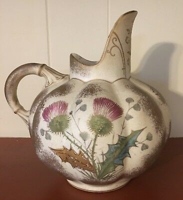 Antique Hand Painted Hampshire Pottery Melon-Shaped Pitcher Vase Ewer ca. 1883