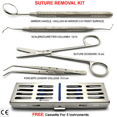 Medical Stich Suture Removal Kit Colombia Curette Tissue Tweezers Scaler + Tray