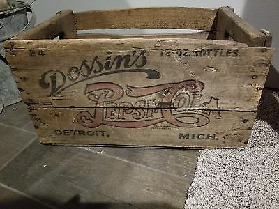 Old Pepsi Cola double dot all wood bottle soda crate, Dossins Detroit Michigan