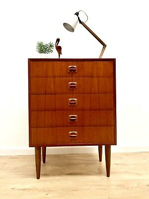 Stunning Mid Century Vintage Danish Teak Tallboy Chest Of 5 Drawers 1960's