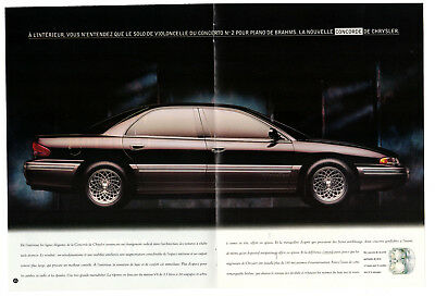 1993 CHRYSLER Concorde Vintage Original Print AD centerfold double sided canada