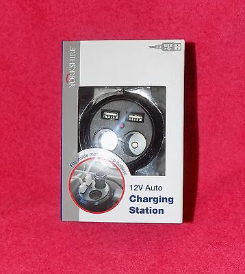 12 Volt Auto Charging Station Yorkshire Fits Inside Car Cupholders 2 USB & 2 12V