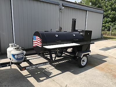 BBQ Pit Smoker w/ Gas! Trailer mounted BBQ, Propane burners