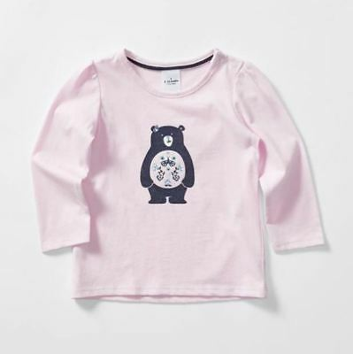 New Baby 3-6 Months Long Sleeve Bear Print Cotton T-Shirt Pink Clothing Cute