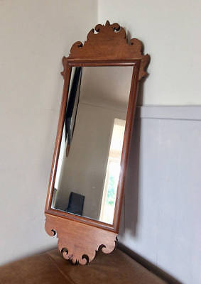 Antique Late Victorian Gothic Style Mahogany Framed Carved Wooden Hallway Mirror