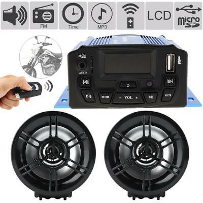 12V Waterproof Motorcycle Anti-theft LCD Audio FM MP3 Sound Player w/ 2 Speakers