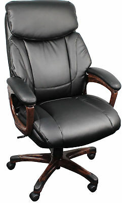Black Leather Executive Office Chair Wood Arms Large Superb Quality Sprung Seat