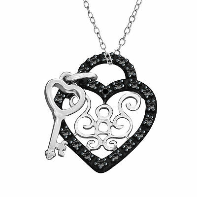 Black Natural Diamond Accents Heart & Key Pendant 14k Gold Over Sterling Silver