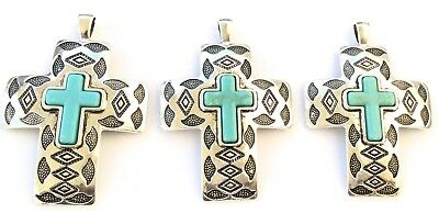 3PCS Fine Antique Silver with Turquoise Crosses Pendant Beading Supplies