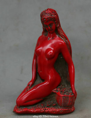 Chinese Resin Carving Beautiful Nude Girl Naked Woman Lady Basket Flower Statue