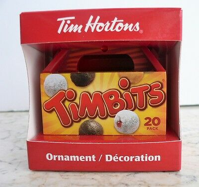 """Tim Hortons """"TIMBIT 20-pack BOX"""" Christmas Ornament 2014 Take-out Coffee"""