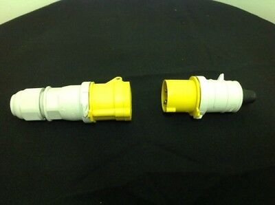 New Pair Of 110 Volt - 16 Amp Yellow Quick Connect Plug And Socket