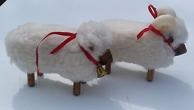 Ram and Sheep Pure Wool and Wood Decorative Figurines