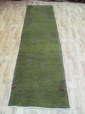A SUPERB OLD HANDMADE GABBEH WOOL ON WOOL PERSIAN RUG (298 x 70 cm)