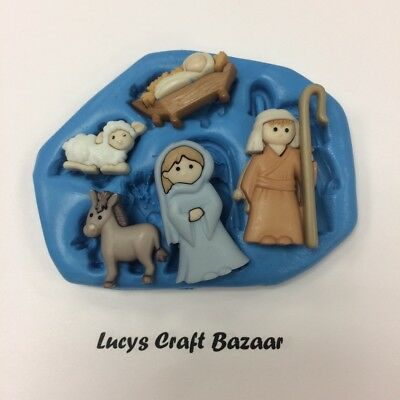 Silicone Mould Nativity Mary Joseph Baby Jesus Lamb Donkey Mini Cake Decorating