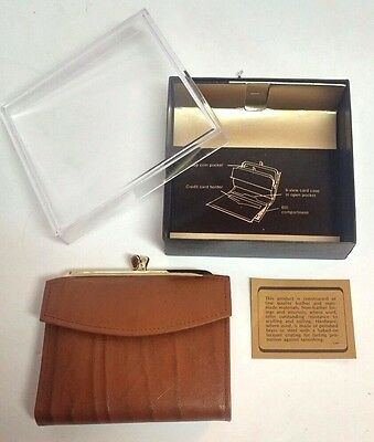 New! Vintage AMITY Genuine Cognac Brown Leather Ladies Coin Purse Wallet in Box